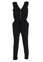 Girls on Film - Zip-up Jumpsuit Black