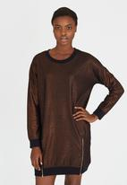 Girls on Film - Metallic Sweater Dress Copper