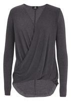 STYLE REPUBLIC - Longer Length Drape Top Grey Melange