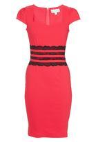 Paper Dolls - Lace Stripe Waistband Dress Dark Pink