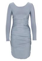 ELIGERE - Shimmer Side Gauged Dress Grey