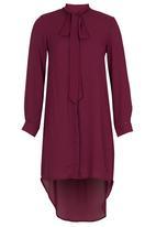 STYLE REPUBLIC - Kitty Bow High Low Dress Dark Purple