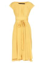 Leigh Schubert - Philosophy Trapeze Dress Yellow and White