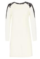 Little Mistress - Lace Shoulder Long Sleeve Tunic Dress Cream