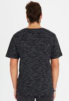 Brave Soul - Crew Neck Distressed Printed T-Shirt Black