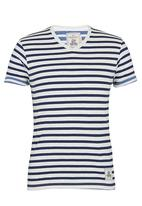 Brave Soul - V-Neck Stripe T-Shirt Navy