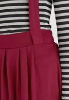 c(inch) - Dungaree Midi Skirt Dark Red