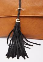 Moda Scapa - Cross-body Bag with Tassel Detail Tan