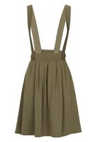 c(inch) - Dungaree Midi Skirt Dark Green