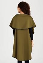Revenge - Sleeveless Cape with Contrast Binding Khaki Green