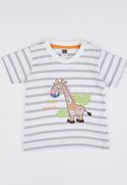 POP CANDY - Stripe Giraffe  Tee Grey