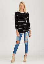 CRAVE - Striped Long Knit Top Black