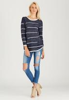 CRAVE - Striped Long Knit Top Navy
