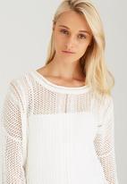 CRAVE - Fine Crochet Knit Top White