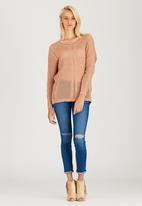 CRAVE - Fine Crochet Knit Top Mid Brown