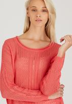 CRAVE - Fine Crochet Knit Top Coral
