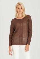 CRAVE - Fine Crochet Knit Top Dark Brown
