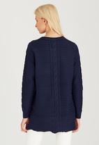 CRAVE - Texture Weave Knit Top Navy