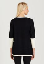 CRAVE - Two Tone Knit Top Black