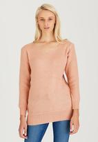 CRAVE - Basic Round-neck Knit Top Pale Pink