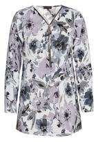 Revenge - Floral Patterned Tunic Top Mid Grey