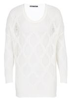 CRAVE - Crochet Knit Sweater White