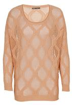 CRAVE - Crochet Knit Sweater Mid Brown