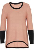 CRAVE - Two Tone Knit Top Pale Pink