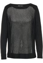 CRAVE - Crochet Knit Top Black