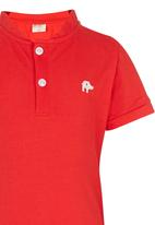 POP CANDY - Toddler Short Sleeve Henley Tee Red