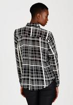 Brave Soul - Grid Check Shirt Black and White
