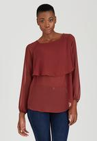 edit - Double Layer Blouse Mid Brown
