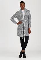 Brave Soul - Chunky Knit Double Collar Cardigan Black and White
