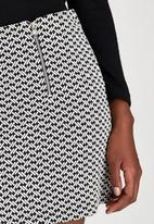 Brave Soul - Jacquard Mini Skirt With Zip Black and White