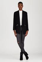 Brave Soul - Oversized Blazer With Zip Detail Black