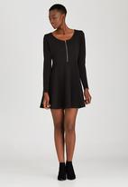 Brave Soul - Long Sleeve Dress With Front Zip Black
