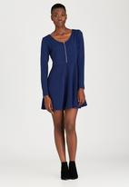 Brave Soul - Long Sleeve Dress With Front Zip Navy