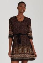 Brave Soul - Border Print Dress Mid Brown