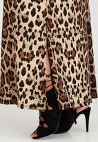 Brave Soul - All Over Leopard Print Maxi Skirt Mid Brown