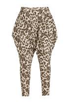 Brave Soul - Slouch Harem Animal Print Pant Mid Brown