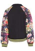 POP CANDY - Toddler Floral Bomber Jacket Black