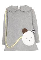 POP CANDY - Collar Long Sleeve Dress Grey