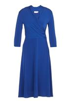 edit - Fit & Flare Dress with 3/4 Sleeve Cobalt