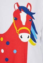POP CANDY - Crew Neck Long Sleeve Horse Tee White