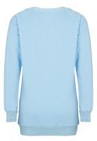 Rebel Republic - Longer Length Fleece Sweater Pale Blue