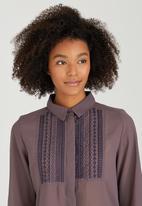 Brave Soul - Concealed Placket Sheer Shirt Dark Purple
