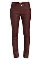 Brave Soul - 5 Pocket Coated Jeans Dark Red
