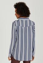 Brave Soul - Vertical Stripe Shirt Navy
