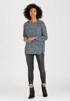 Brave Soul - Zip Detail Crew Neck Jumper Blue
