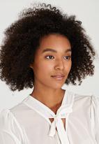 Brave Soul - Sheer Neck Tie Detail Blouse Cream